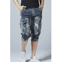 Guys New Trendy Camouflage Printed Elastic-Cuff Blue Denim Shorts Cargo Shorts
