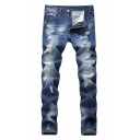 Guys Summer Vintage Distressed Ripped Straight Fit Blue Jeans