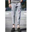 New Stylish Embroidered Letter Badge Patched Guys Slim Fit Light Blue Ripped Tapered Jeans