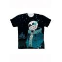 Hot Popular Comic Cool 3D Printed Basic Short Sleeve Black T-Shirt