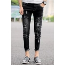 Street Fashion Rolled Cuff Patchwork Zipper Fly Black Slim Fit Ripped Jeans for Men
