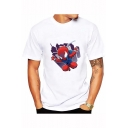Summer New Fashion Cartoon Print Basic Round Neck Short Sleeve White T-Shirt