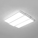 Rectangle/Square Foyer Flush Mount Light Acrylic Modern LED Ceiling Fixture in White/Warm