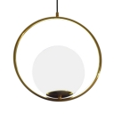 Globe Bedroom Pendant Light White Glass 1 Light Nordic Style Hanging Light with Brass Ring