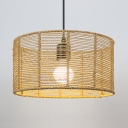 Rattan Drum Chandelier 1/3 Lights Rustic Lodge Outdoor Pendant Lighting