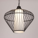 Bamboo Tapered Hanging Light 1-Light Lodge Pendant Lighting in Black with 39