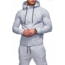 Men's New Fashion Basic Plain Multiple Pockets Long Sleeve Zip Up Casual Hoodie