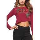 New Trendy Embroidery Floral Round Neck Long Sleeve Burgundy Cropped T-Shirt