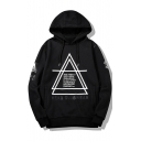 Fashion Geometry Letter Badge Printed Long Sleeve Casual Drawstring Hoodie