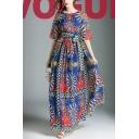 Elegant Vintage Tribal Floral Printed Half Sleeve Tied Waist Chiffon Maxi A-Line Dress for Women