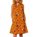 Vintage Birds Floral Printed Sleeveless Yellow Cotton and Linen Midi Tank Dress