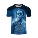 Men's Stylish 3D Character Print Round Neck Short Sleeve Navy Basic Pullover T-Shirt