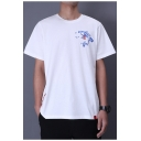 Chinese Style Summer Embroidery Pattern Short Sleeve Guys Loose Casual T-Shirt