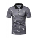 New Fashion Allover Currency Symbol Printed Short Sleeve Grey Polo for Men