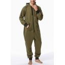 Men's Simple Solid Color Long Sleeve Thermal Zip Up Hoodie Homewear Lounge Jumpsuits