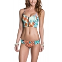 New Fashion Pineapple Printed Zip Front Tied Back Bikini Swimwear
