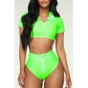 Sexy Zipper Patched Short Sleeve Crop Top Plain Bikini
