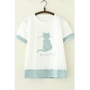Cute Cat Letter BRAZIL NUTS Embroidered Colorblock Short Sleeve Relaxed T-Shirt
