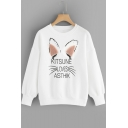 Lovely Cat Ear Fur Embellishing Letters KITSUNE LOVES ASTHIK Printed Long Sleeve White Sweatshirt