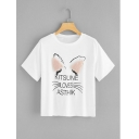 White Stereo Ear Cat Letter KITSUNE LOVES ASTHIK Printed Women's Short Sleeve T-shirt