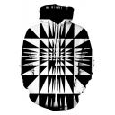 Stylish Cool Geometric Printed Long Sleeve Sport Black and White Hoodie