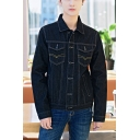 Men's Fashion Lapel Collar Long Sleeve Buttons Down Black Denim Jacket with Chest Pockets