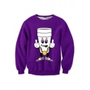 New Fashion Cup Character Printed Long Sleeve Purple Pullover Sweatshirt