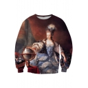 Fabulous Oil-Painting Queen Printed Round Neck Long Sleeves Brown Pullover Sweatshirt