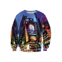 Popular Cool Skyscraper 3D Digital Printed Long Sleeves Blue Pullover Sweatshirt
