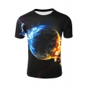 Mens Summer Fashion 3D Galaxy Digital Printed Short Sleeve Black T-Shirt