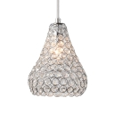 Modern Pendant Lighting for Dining Room, Clear Crystal Pear Pendant Lighting in Chrome with 39