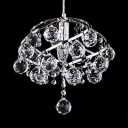 Kitchen Pendant Lights Contemporary with Hanging Cord, Adjustable Chrome Clear Crystal Pendant Lighting with Dome Shade