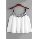 Summer Simple Printed White Chiffon Cami Top for Women
