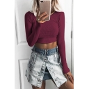 Womens Popular Round Neck Long Sleeve Simple Plain Cropped Slim T-Shirt