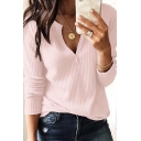 Popular Simple Plain V-Neck Long Sleeve Casual Loose T-Shirt