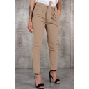 Fashion Tied Waist Simple Plain Basic Slim Fitted Pants