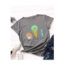 Funny Ice Cream Candy Print Short Sleeve Leisure Cotton T-Shirt