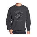 Game of Thrones Wolf Head Printed Round Neck Long Sleeve Loose Fitted Pullover Sweatshirt