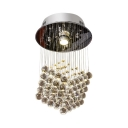 Clear Crystal Ball Ceiling Light 1 Light Modern Clear Crystal Chandelier for Bedroom
