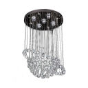 Chrome Sphere Ceiling Lighting 3/5 Lights Modern Clear Crystal Chandelier for Bedroom
