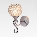 Contemporary Wall Mounted Lighting with Globe Shade Single Light Clear Crystal Sconce Light, H9