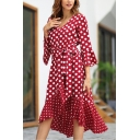 New Trendy V-Neck Clasic Polka Dot Printed Long Sleeve Womens Midi Asymmetric Dress