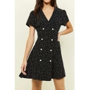 Summer Fashion Polka-Dot Printed V-Neck Short Sleeve Double-Breasted Mini A-Line Dress