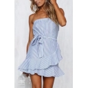 Women's Trendy Blue Striped Printed Off The Shoulder Tie Waist Ruffle Hem Mini A-Line Dress