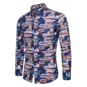 Mens New Stylish Printed Long Sleeve Button-Front Fitted Linen Shirt