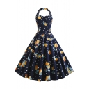 Vintage Polka-Dot Lemon Print Halter Neck Navy Midi A-Line Flared Dress