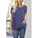 Women's Solid Color Round Neck Short Sleeve T-Shirt with Pockets