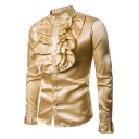 Men's Stylish Plain Stand-Collar Long Sleeve Pleats Ruffle Front Button-Up Satin Shirt for Men