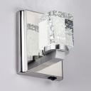 Modern Style Rectangle/Cylinder Sconce Light 1/2 Lights Clear Crystal Wall Mounted Lighting, White/Warm