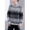 Guys Fashion Printed Crew Neck Long Sleeve Basic Casual Pullover Sweater
